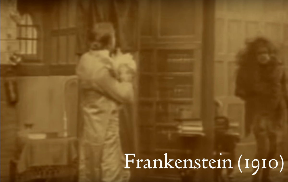 Frankenstein sees the monster as his reflection in a mirror